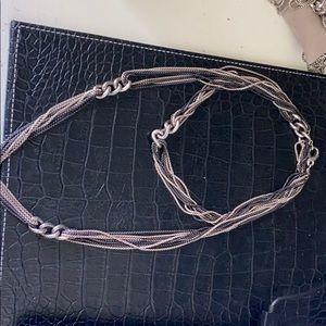 David Yurman Curb Link 8-Row Black& White Necklace